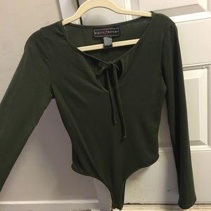 Charlotte Russe ribbed long sleeve olive bodysuit